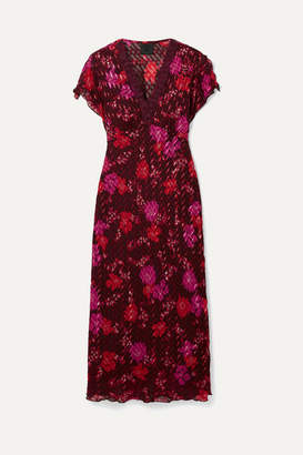 Anna Sui - Scattered Flowers Lace-trimmed Silk-blend Jacquard Midi Dress - Burgundy