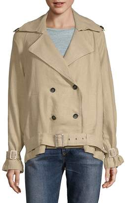 Moon River Women's Double-Breasted Button Shirt Trench Jacket