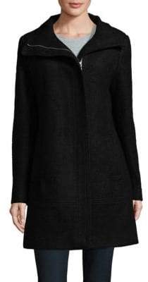 Calvin Klein Toggle-Trim Boucle Long Coat
