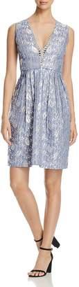 Elie Tahari Jacqueline Metallic Jacquard Dress