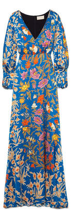 Peter Pilotto Floral-print Hammered Stretch-silk Dress - Blue