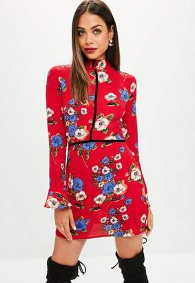 Missguided Red Floral High Neck Shift Dress