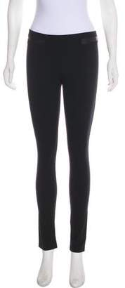 Helmut Lang Leather-Accented Low-Rise Leggings