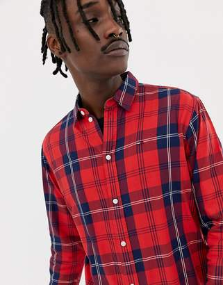 Tommy Jeans essential big check shirt flag logo in red