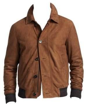 Ermenegildo Zegna Men's Suede Button-Front Jacket - Brown - Size 54 (44)