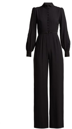 Goat Forte Wide Leg Crepe Jumpsuit - Womens - Black