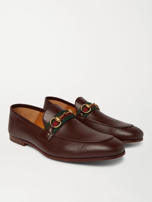Gucci Brixton Webbing-Trimmed Horsebit Collapsible-Heel Leather Loafers - Men - Brown