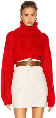 GRLFRND Samantha Turtleneck Sweater in Cherry Red | FWRD
