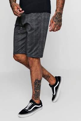 boohoo Checked Smart Jogger Shorts