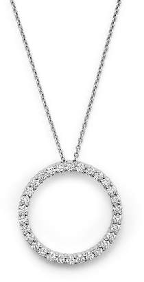 """Roberto Coin 18K White Gold and Diamond Large Circle Necklace, 16"""""""