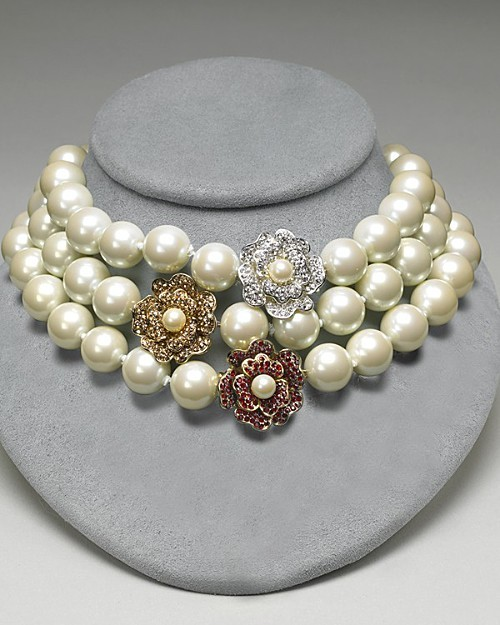 Carolee Faux Pearl Necklace with Crystal Flower Accent