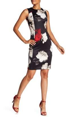 Modern American Designer Floral Print Sheath Dress