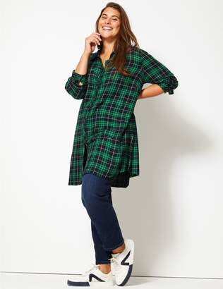Marks and Spencer CURVE Checked Longline Long Sleeve Shirt