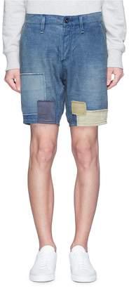 Denham Jeans 'Tokyo' patchwork drop crotch shorts