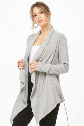 Forever 21 Marled Knit Draped-Front Cardigan