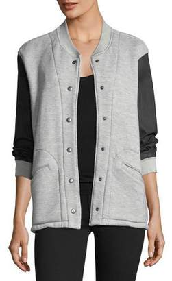 Current/Elliott Classic Snap-Front Varsity Jacket w/ Contrast Sleeves