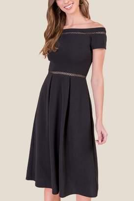 francesca's Elena Midi Skater Dress - Black