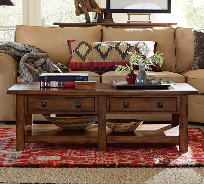 Benchwright Rectangular Coffee Table, Rustic Mahogany