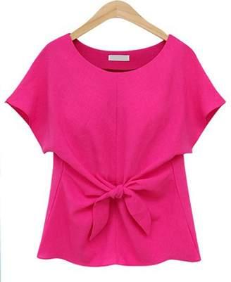 D.E.P.T FIST BUMP Women's Chiffon Blouse T Shirt Short Sleeve Cute Short Tops with Bow