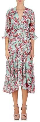 Saloni Women's Edith Floral Silk Midi-Dress $595 thestylecure.com