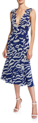 Prabal Gurung Tiger-Print Sleeveless Silk Tie-Shoulder Midi Dress