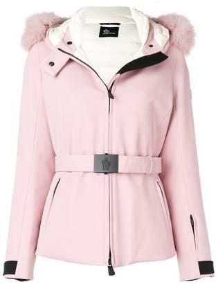 Moncler hooded belted parka jacket