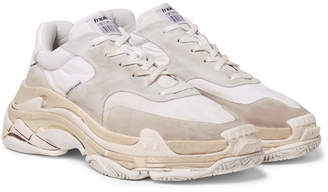 Balenciaga Triple S Shell And Suede Sneakers