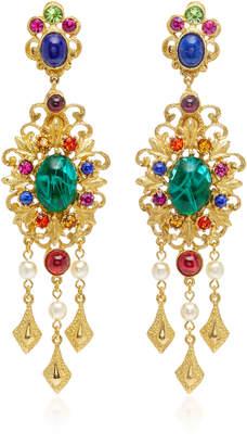 Ben-Amun Ben Amun Gold-Plated Brass Crystal Chandelier Earrings