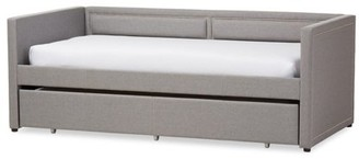 Baxton Studio Raymond Modern and Contemporary Fabric Nail Heads Trimmed Sofa Twin Daybed with Roll-Out Trundle Guest Bed, Multiple Colors
