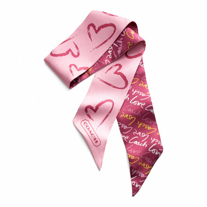 Coach Love Watercolor Heart Ponytail Scarf