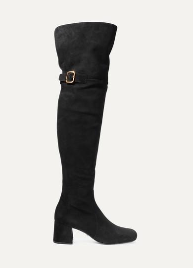 Prada - Suede Over-the-knee Boots - Black