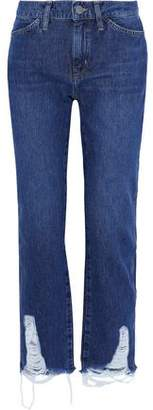 MiH Jeans Cult Distressed Mid-Rise Straight-Leg Jeans