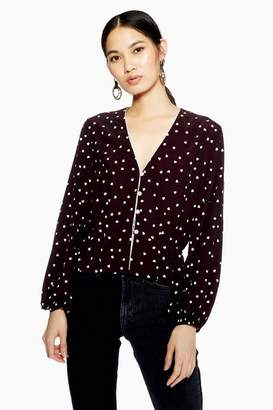 Topshop Heart Print Long Sleeve Top