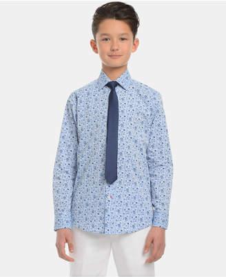 Tommy Hilfiger Big Boys Floral-Print Shirt & Necktie Set