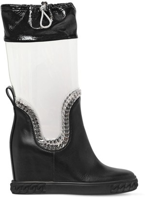 Casadei 80mm Plexi & Leather Wedge Boots
