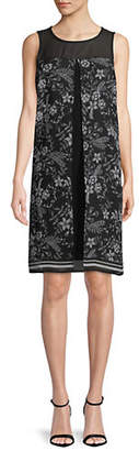 LORI MICHAELS Floral-Print Sleeveless Chiffon Shift Dress