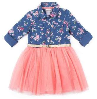 Little Lass Printed Chambray and Tulle Dress (Little Girls)