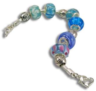 True Blue Balalabeads Beautiful Silver Plated 8.13cm Bracelet 'True Blue' Collection - with Six Handmade Lampwork Glass Beads and Four Metal Spacer Beads