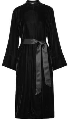 Elizabeth and James Mitzi Oversized Belted Silk Satin-trimmed Velvet Jacket - Black