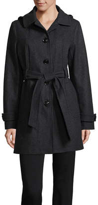 Liz Claiborne Belted Heavyweight Overcoat