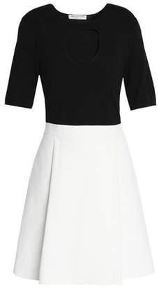 Halston Pleated Two-Tone Cotton And Silk-Blend Mini Dress