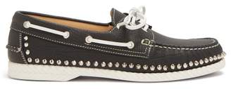 Christian Louboutin Steckel Stud Embellished Leather Deck Shoes - Mens - Black