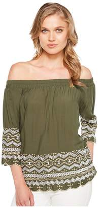 Karen Kane Off the Shoulder Embroidery Top Women's Clothing