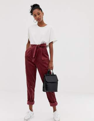 0538e427ba Asos Design DESIGN tapered tie waist trousers in jumbo cord