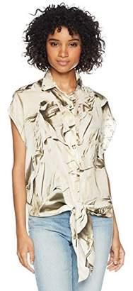 Nicole Miller Women's Safari Jacket Tie Blouse