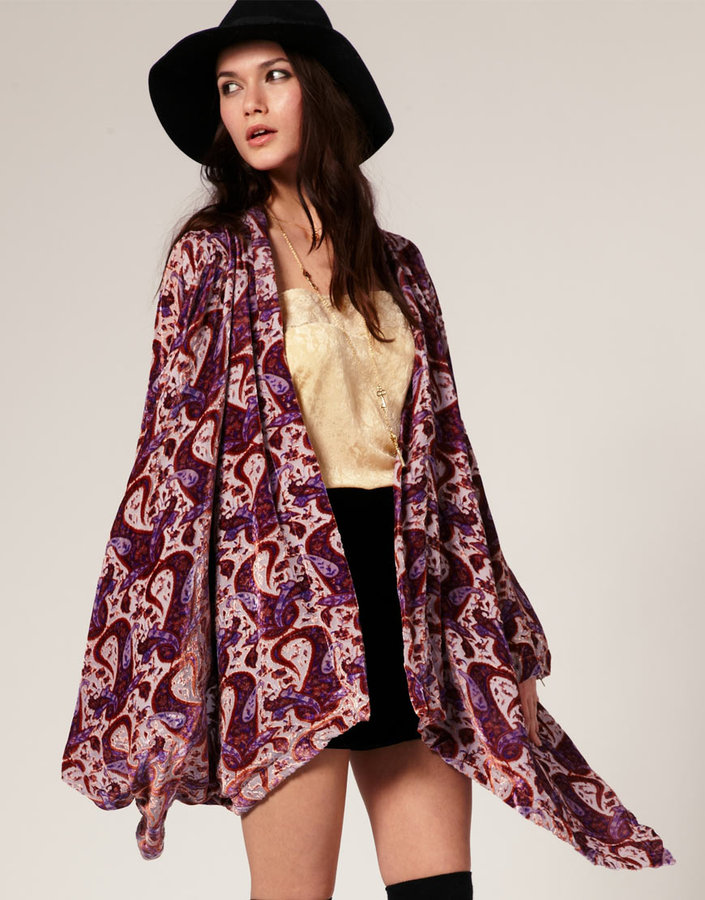 Winter Kate Jasmine Kimono Jacket in Velvet Burnout