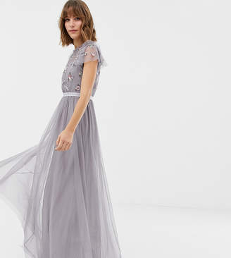 Needle & Thread embellished bodice tulle maxi gown in lavender