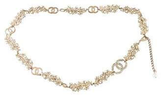 Chanel CC Strass and Pearl Embellished Belt Silver CC Strass and Pearl Embellished Belt