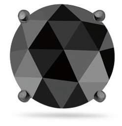 Black Diamond Vogati 5/8 (0.60-0.68) Cts of 5.40-5.60 mm AAA Round Rosecut Mens Stud Earring in 14K White Blackened Gold