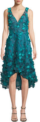 Marchesa Sleeveless High-Low 3D Flower Dress